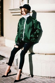 15 Ways to Wear a Light Flight Jacket. Tini Tani, shot in Tatarstan for Tini Tani, via Lookbook