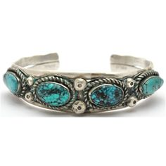// Old Pawn Navajo Turquoise Sterling Silver Bracelet