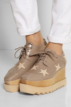 Stella McCartney|Star-patterned faux leather wedge lace-ups|NET-A-PORTER.COM