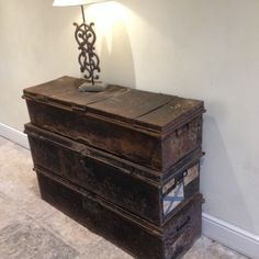 Get Inspired | Crown Cottage Somerset - Antique & Vintage furniture hand painted in the unique style best suited for each piece. Metal Military Trunks Forms Unique Rustic Hall Table