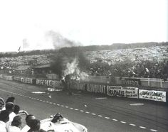 LM 1955 ♦ The fire seen from the pit lane. Very early moments. The horror already wrought on the other side is still wholly unknowable on this side.