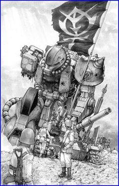 Zeon infantry and a fallen zaku. I don't know the Manga. Sci Fi Anime, Mecha Anime, Anime Fantasy, Anime Manga, Anime Art, Gundam Wing, Gundam Art, Gundam Wallpapers, Gundam Seed