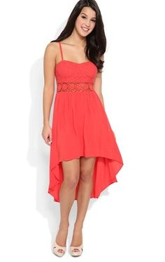 Deb Shops High Low Dress with Lace Bodice and Daisy Crochet Illusion Waist $25.00