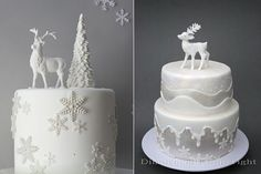reindeer cakes via Little Big Company winter wonderland party by Cupcake left,deer cake by Dimitriana Cakes right