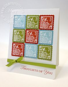 Color blocking card using Fresh Vintage and Loving Thoughts stamp sets.  Designed by Mary Fish, Independent Stampin' Up! Demonstrator. Details, supply list and more card ideas on http://stampinpretty.com/2012/03/stampin-up-fresh-vintage-color-blocking.html