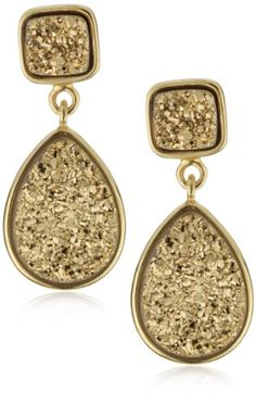 Marcia Moran %22Glamour%22 Gold-Tone Druzy Stone Double Drop 18k Gold-Plated Earrings