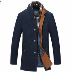 e3aad00dbca Winter Trench Coat Men Casual Thick Wool Overcoat Men s Stand Collar Woolen  Coats With Detachable Scarf Parka Casaco Masculinos