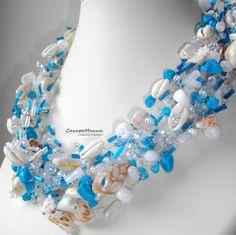В  морском стиле. Бисер, бусины, магнезит, ну, и конечно ракушки. In a Maritime style. Beads, beads, magnesite, and of course seashells.  ☀️ Вяжу и продаю бусы. Crochet and sell necklace. Бисер, камни, пряжа, мононить. Beads, gemstones, yarn, monofilament.