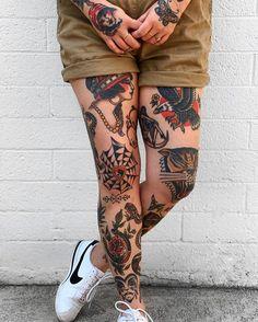 Traditional Tattoo Leg Sleeve, Traditional Tattoo Woman, Traditional Sleeve, Traditional Tattoo Design, Traditional Tattoos, Web Tattoo, Tatuaje Old School, Old School Tattoo Designs, Leg Sleeve Tattoo