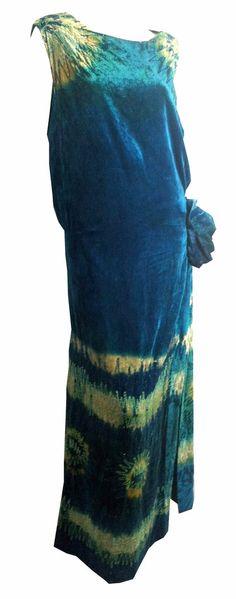 Bold Peacock Blue Silk Velvet Beaded Tie Dye Evening Gown circa 1920s