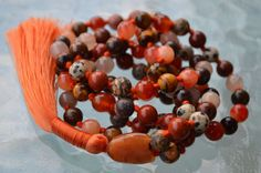 Sacral Chakra Mala Natural Gemstone Mala Necklace Sense of Belonging Sexual Ener | eBay