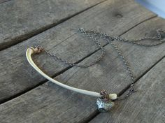 FOOL ME TWICE. Genuine Rib Bone and Pyrite (Fools Gold) necklace. Taxidermy statement weird. Animal Bone Jewelry. Unique Gothic Boho unisex