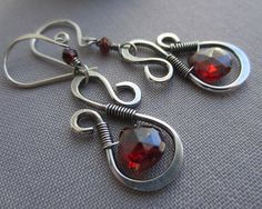 Hey, I found this really awesome Etsy listing at https://www.etsy.com/listing/224794548/garnet-earrings-silver-wire-earrings