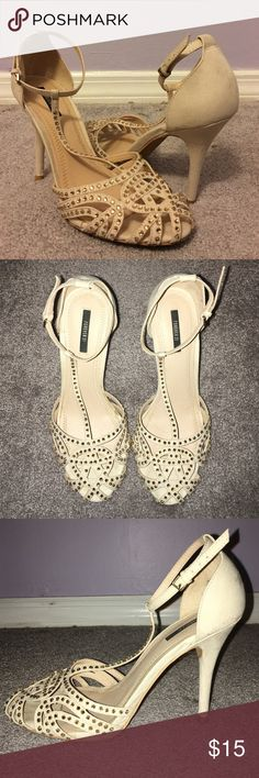 🎉 flash sale 🎉 Rhinestone t-strap heels Slight stain on inner right heel. Faux suede with champagne rhinestones. 4-1/2 inch heel. Price is negotiable. Bundle for savings. Forever 21 Shoes Heels