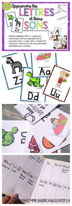FRENCH apprendre les lettres et leurs sons - affiches, cartes éclairs, mur de mots personnel