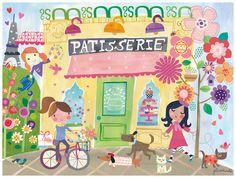 Oopsy Daisy Outside The Patisserie by Jill McDonald Canvas Art Size: 1 Kids Canvas Art, Canvas Artwork, Canvas Wall Art, Unicorns, Kids Prints, Art Prints, Jill Mcdonald, Baby Wall Art, Cute Illustration