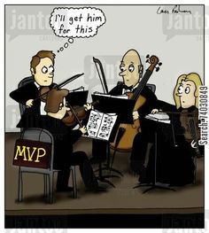 Cartoon: First violinist with an 'MVP' sign on his chair - Humoresque Cartoons Music Jokes, String Quartet, Teaching Music, Great Lakes, Music Education, Funny Cartoons, Got Him, Darth Vader, Signs