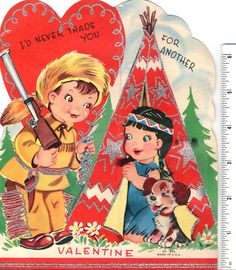 BIG Vintage Mid Century VALENTINE CARD Davy Crockett/Daniel Boone Look Frontier Boy With Gun & Coonskin Cap Giving Trade Beads to Native American Indian Maiden Girl Peeking out of Teepee. With Silver Glitter Accents. THECOLLEGEFUND ON EBAY