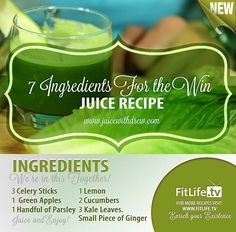 7 Ingredients for the Win Juice.  This is such a healthy and yummy recipe that's a must try for you and for your family.. Try this now! #celery #apple #parsley #lemon #cucumber #kale #ginger