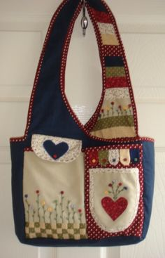 The Bobbin Patch :: Kits :: Bag kits :: Pocket garden bag-Navy with Red spots