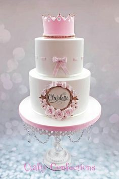 Based on a double-barrel cake I fell in love with, made by Rosy cakes, I made this for a family Christening yesterday Tiara Cake, Crown Cake, Baby Girl Cakes, Baby Birthday Cakes, Torta Princess, Fondant Cakes, Cupcake Cakes, Bolo Tumblr, Double Barrel Cake