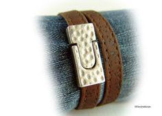 Damen Kork Leder Armband Wickelarmband dunkel von elfenstuebchen
