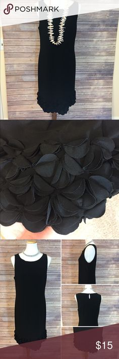 Taylor Dress black with bottom details Sz 12 Love this black dress. Would look great with a cardigan. Dress up or down. Can see red ruby lips, black clutch and strappy heels with this. Comfortable stretchy material. Sz 12 Taylor Dresses