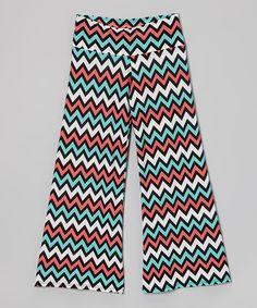 Turquoise & Pink Zigzag Palazzo Pants by Lori & Jane #zulily #zulilyfinds