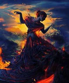 Pele is one of the most well known and revered in Hawaiian mythology. Pele is a goddess of fire, lightning, dance, wind, volcanoes and violence. Digital Art Illustration, Fantasy Kunst, Wow Art, Fantasy World, Fantasy Art Women, Mythical Creatures, Dark Art, Color Splash, Concept Art