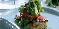 Bill Granger's Corn Fritters with Avocado Salsa Used 4 c frozen org corn, 1 c cilantro (1/2 and 1/2 for salsa), 1 1/2 c GF blend + cornmeal. Used 1 1/2 avocados for salsa  LOVED these & very easy to make. Great brunch item