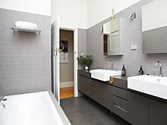 Charming Modern Bathroom Interior Design and Decoration Details Ideas : Elegant Modern Soft Brown Hovering Washbasin Cabinet Combined With B...