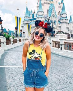 Cute overalls + a vintage tee | Disney Outfit | Disney Shirts | What to wear to Disney | Disney Style | Minnie Style