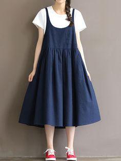 Vintage Loose Strap Pocket Pure Color Dresses For Women Mori Fashion, Women's Fashion Dresses, Womens Fashion, Fashion Trends, Cheap Dresses, Casual Dresses For Women, Dresses Dresses, Midi Pinafore Dress, Dress Plus Size