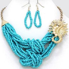 Chunky Seahorse Charm Gold Chain Necklace Earring Set Fashion Costume Jewelry   eBay