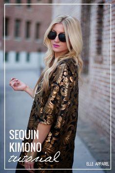 À voir avec d'autres tissus mais la forme est sympa   Sequin Kimono Tutorial