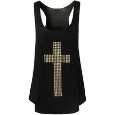 BLONDE & BLONDE Stud Cross Vest ($24) ❤ liked on Polyvore