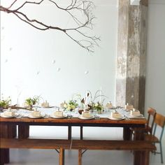 table setting with branches