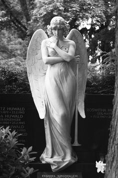 To see an angel, you must see another's soul. To feel an angel, you must touch another's heart. To hear an angel, you must listen to both. Cemetery Angels, Cemetery Statues, Cemetery Art, Angels Among Us, Angels And Demons, Statue Ange, Old Cemeteries, Graveyards, I Believe In Angels