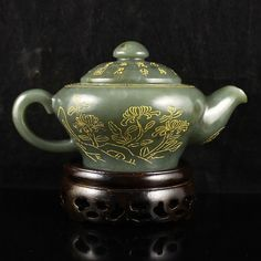 Fine Chinese Natural Hetian Jade Gold-Plating Teapot