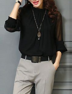 VERYVOGA Solid Stand-up Collar Long Sleeves Elegant Blouses - Burgundy Source by acwhitesell Blouses Work Fashion, Fashion Outfits, Basic Tops, Black Blouse, Types Of Sleeves, Latest Fashion For Women, Shirt Blouses, Blouses For Women, Ideias Fashion