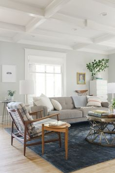 white ceiling, light gray walls -- and white window trim!