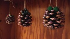 Christmas fircone decorations - sparkly paper, pompoms and shed load of glitter