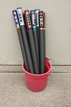 "Kids' birthday party idea: Make ""light sabers"" out of pipe insulation. The material is very soft, so no one gets hurt. Blogger Wendy Copely decorated the ""sabers"" with colored duct tape. Read more about her Star Wars-themed birthday party on Wendolonia. 
