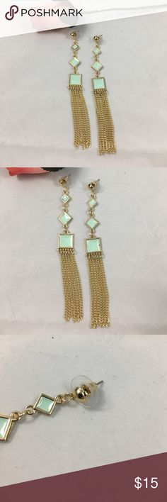 "Mint Geometric Square Gold Tassel Earrings Brand new with tags never worn beautiful mint and gold Tassel earrings. These gorgeous earrings will add a great statement to your spring outfits. 4 1/2"" long, made of enamel, zinc alloy, and they are gold plated. Absolutely stunning pieces Jewelry Earrings"