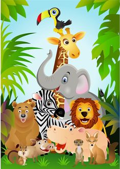Ilustracion a todo color con los animales de la selva.