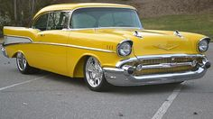 Awesome yellow color, typically don't like yellow on cars but I like this one Chevrolet Bel Air Chevrolet Bel Air, 1957 Chevy Bel Air, Chevrolet Corvette, Old Classic Cars, Classic Trucks, Disney Cars Birthday, Cute Cars, Chevy Trucks, Antique Cars