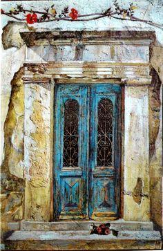 Greece~~~Smaragda Papoulia-Vasilakoudi (Greek painter, b. Painter Artist, Artist Painting, Artist Art, Art History Major, Modern Art, Contemporary Art, Greek Paintings, Mediterranean Art, Call Art