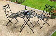 Alium Pesaro Foldable 2 Seater Metal Bistro Garden Set Black Outdoor Furniture