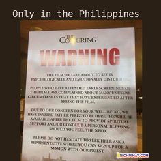 """""""Conjuring Movie Warning in the Philippines. Filipino Jokes Filipino Funny, Tagalog jokes, Pinoy Humor pinoy jokes all the # on here.it's sad that people find this funny and they don't realize the true spiritual impact this type of movie can have. Best Horror Movies, Scary Movies, Good Movies, Filipino Memes, Filipino Funny, Funny Instagram Pictures, Horror Themes, The Exorcist, Book Tv"""