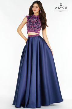 Alyce Paris Prom 2017 dresses | Dress Style 6780 | Alyce Paris Prom 2017 mikado skirt with an embellished high neck top and strappy back.